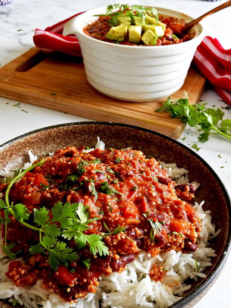 Close up of quinoa chilli in a bowl