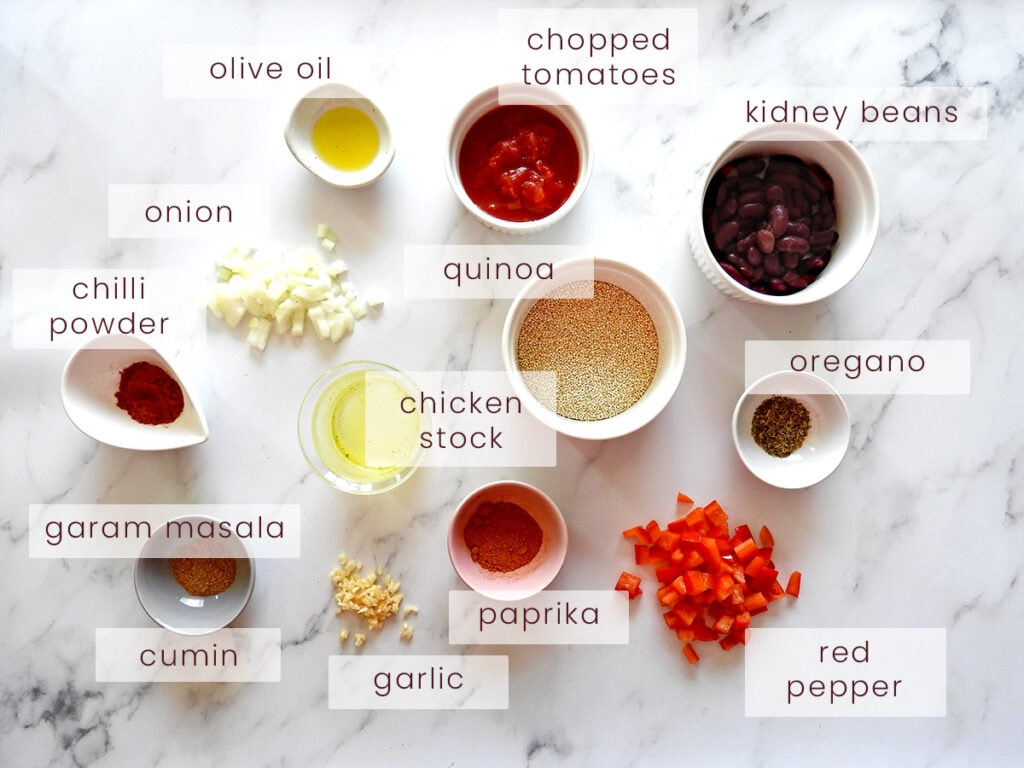 Quinoa Chilli Ingredients on a counter