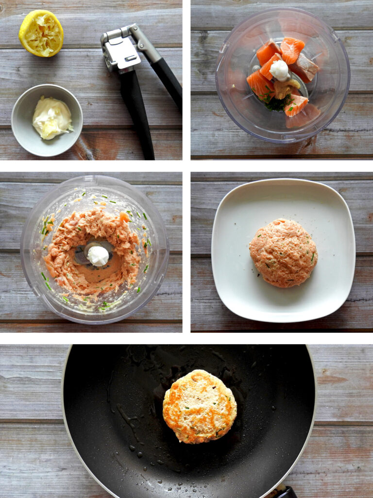 Salmon burger recipe steps. Mix the dressing, blend the burger ingredients, mold into patties and fry