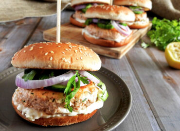 Salmon burger on a plate