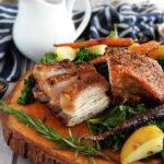 Sliced slow cooker pork belly