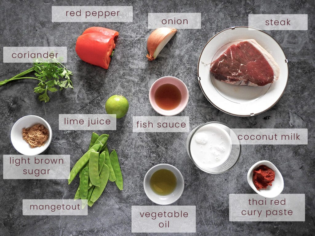Thai red beef curry ingredients