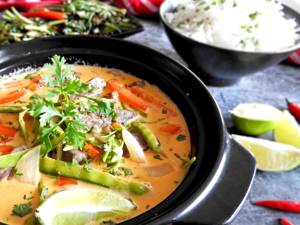 Thai red beef curry close up in a bowl