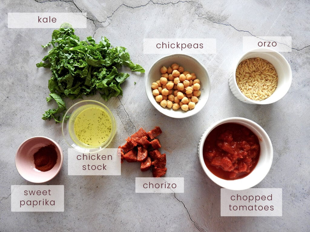 Chorizo and chickpea soup ingredients