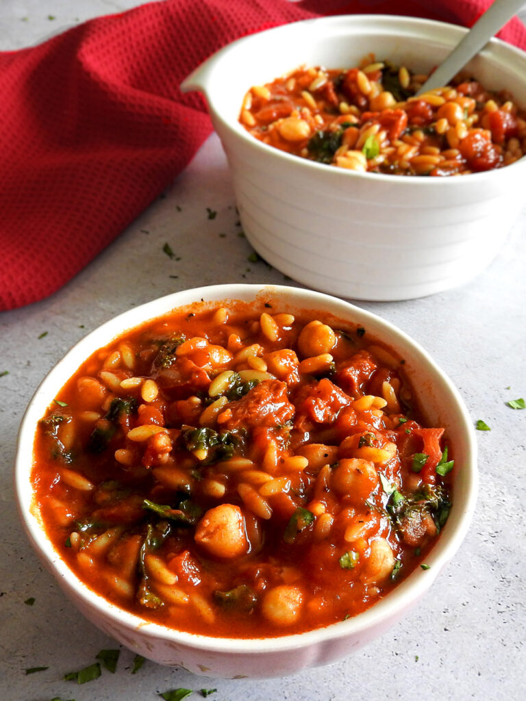 Chickpea and chorizo soup in a bowl