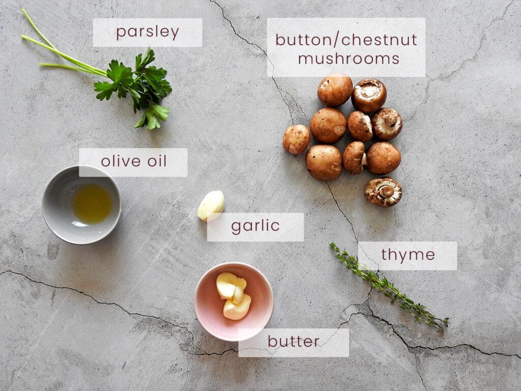 Garlic mushrooms recipe ingredients