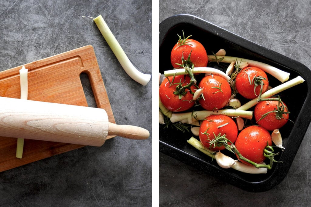 Recipe Steps 1 and 2, flatten the leeks with a rolling pin. Place the tomatoes and leeks in a baking dish with the garlic and oil and season