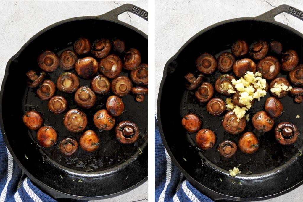 Cooking garlic mushrooms. Sauté in pan until brown then add garlic