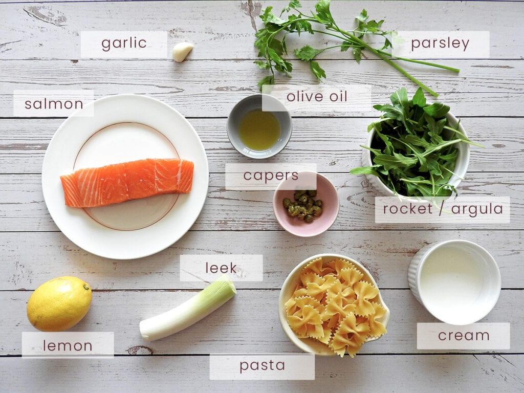 Salmon and leek pasta ingredients