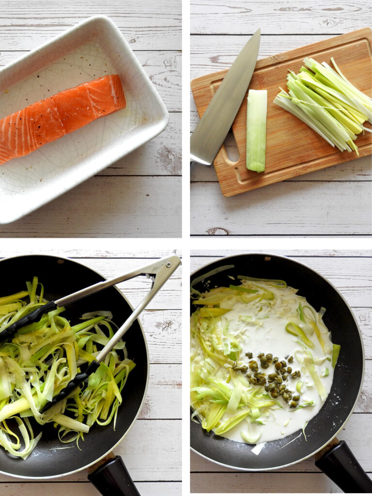 Recipe Steps - bake the salmon, prepare the leeks, fry the leeks, add the cream and capers