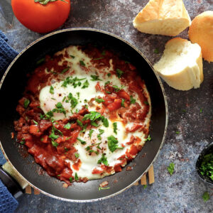 Shakshuka with Chorizo - Shakshurizo in a pan