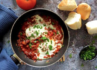 Shakshuka with Chorizo - Shakshurizo in a pan