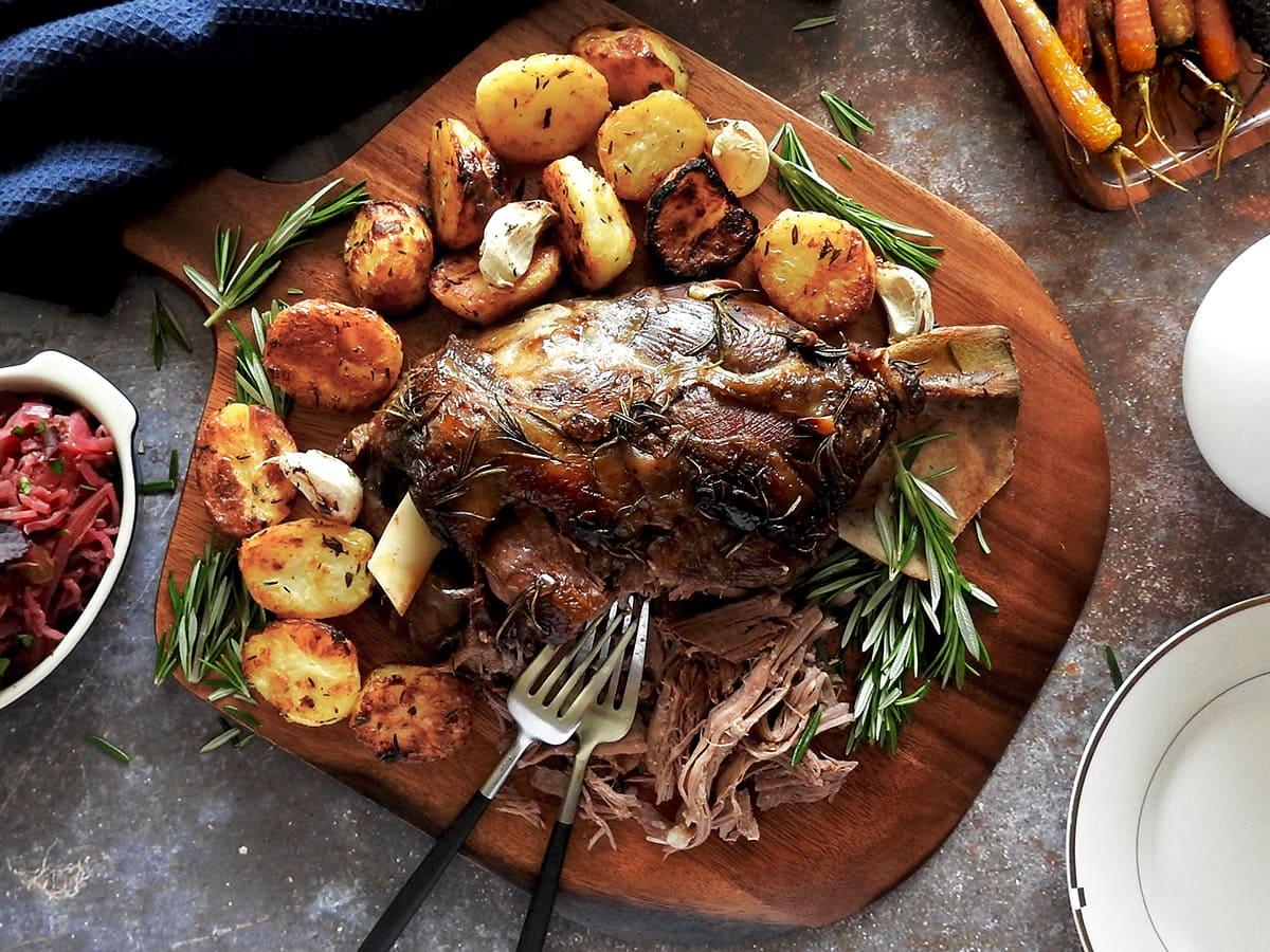 Slow Roast Lamb Shoulder on a chopping board