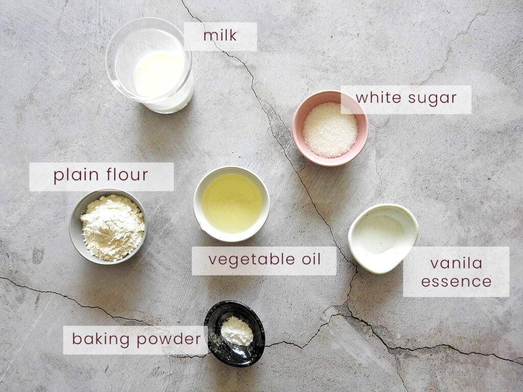 Vanilla mug cake ingredients