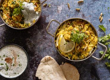 Chicken Tikka Biryani with naan
