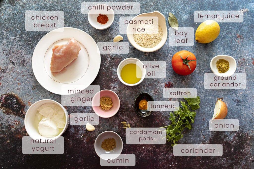 Chicken Tikka Biryani Ingredients