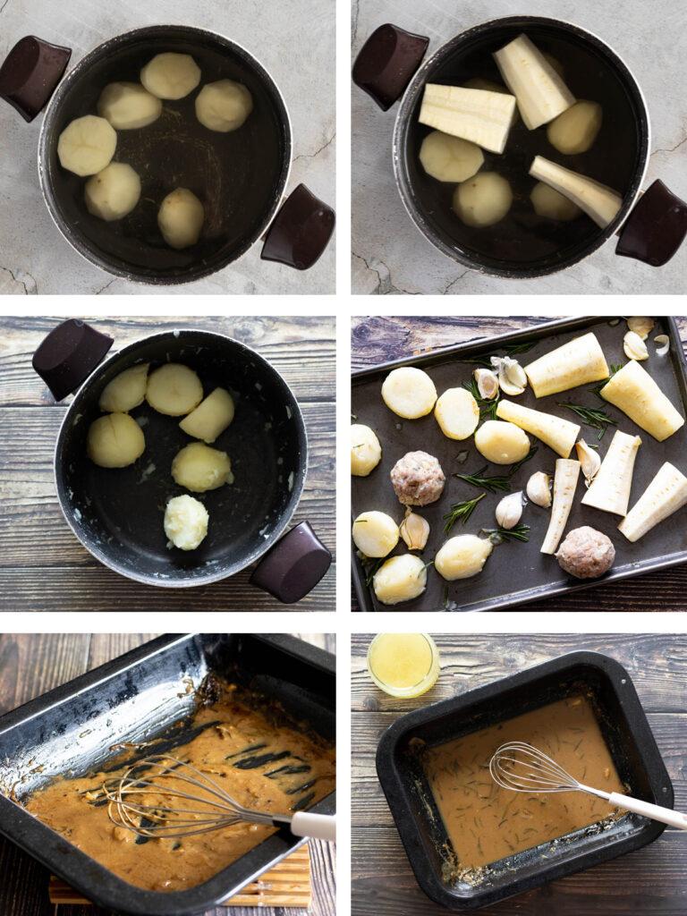 Preparing the veg, potatoes and gravy