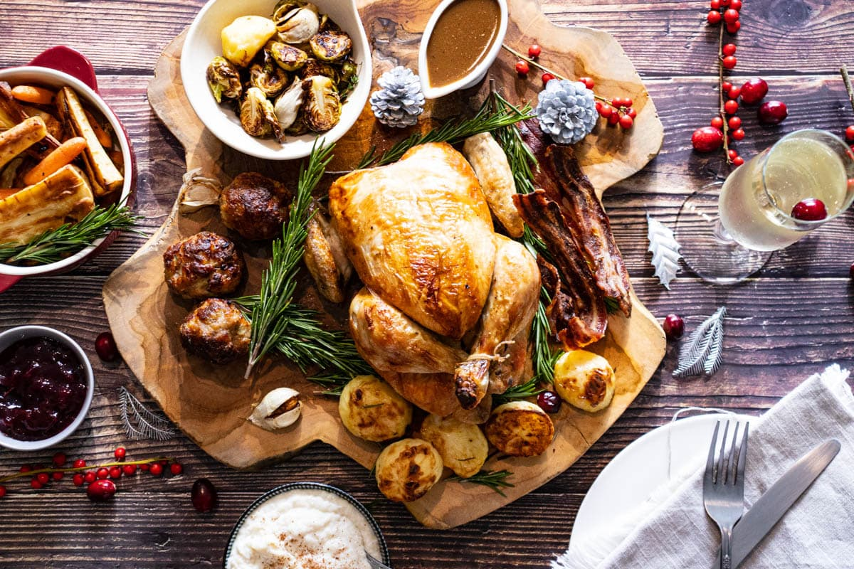 Christmas dinner for one on a wooden board