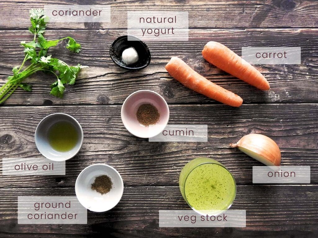 Carrot and Coriander Soup Ingredients