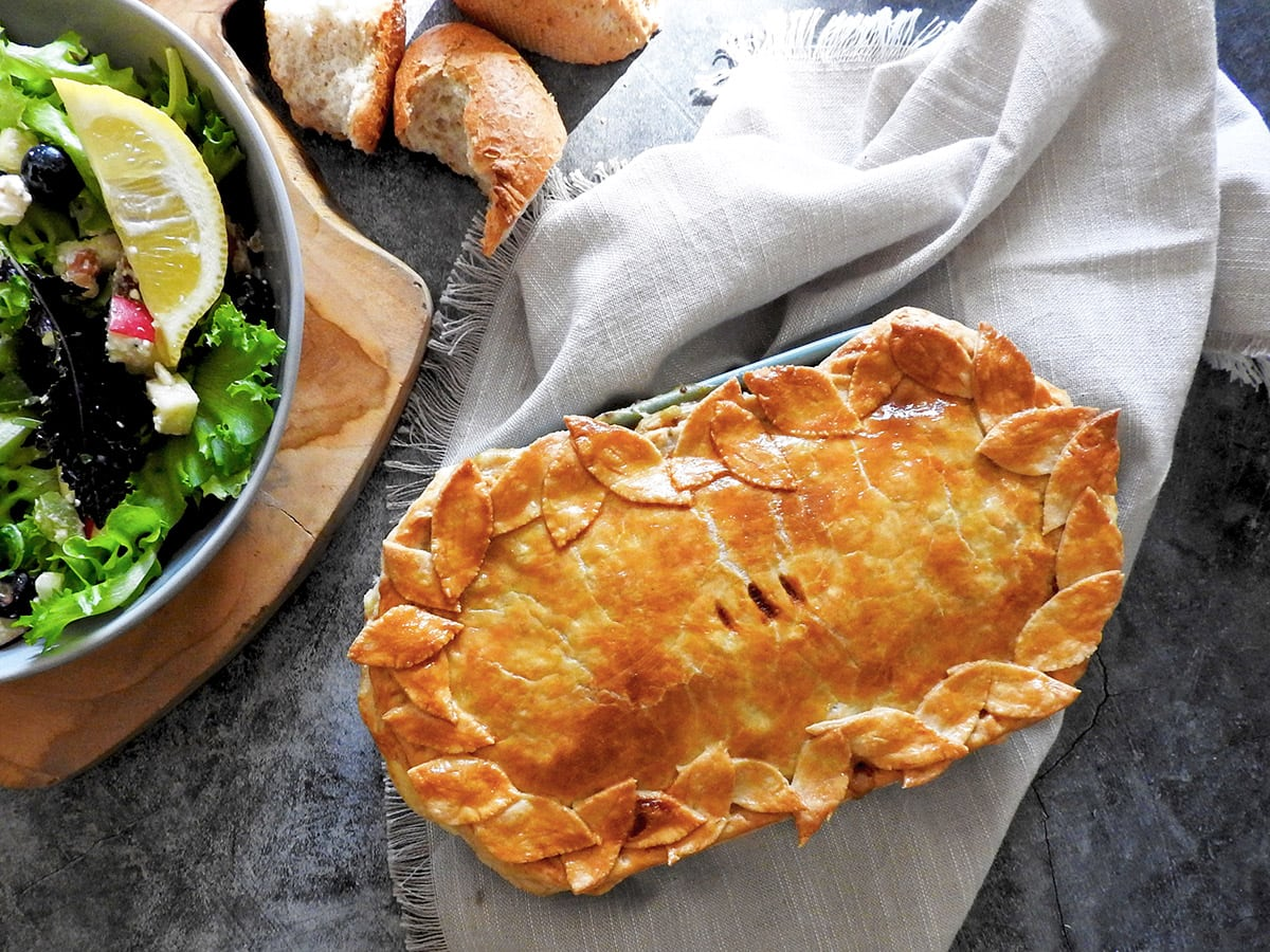 Chicken and bacon pie with a salad