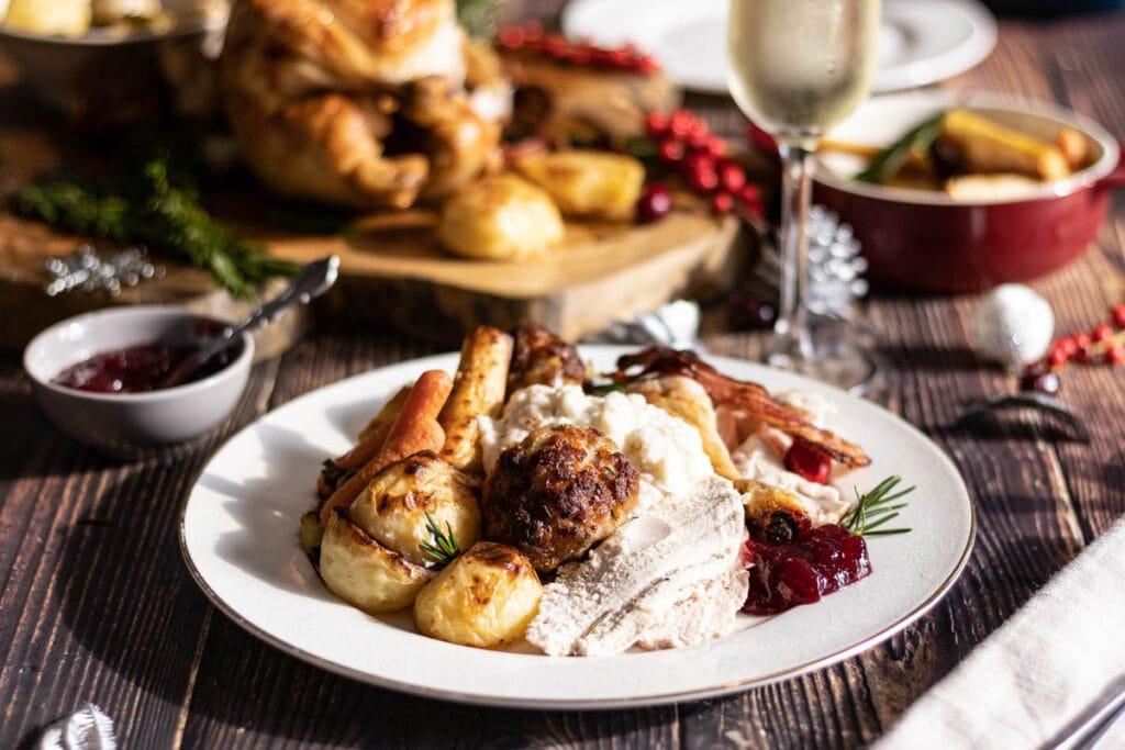 Christmas dinner for one on a plate