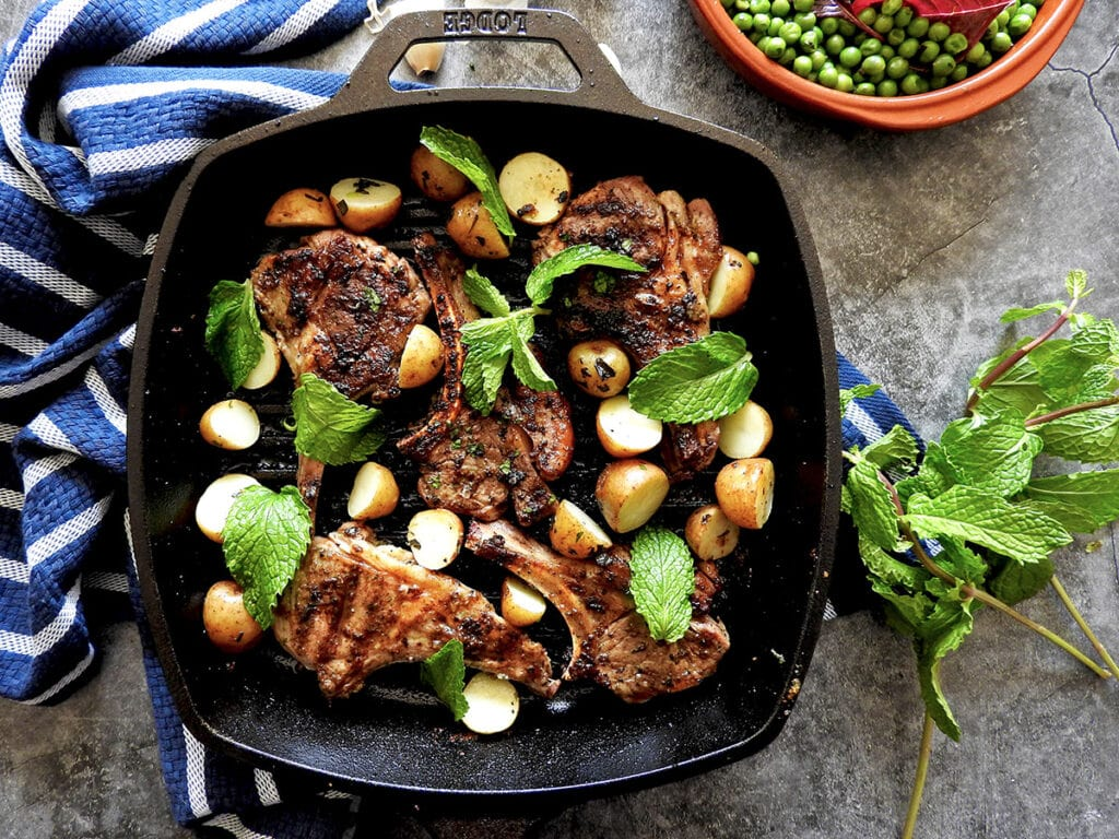 Minted Lamb Chops in a Grill Pan