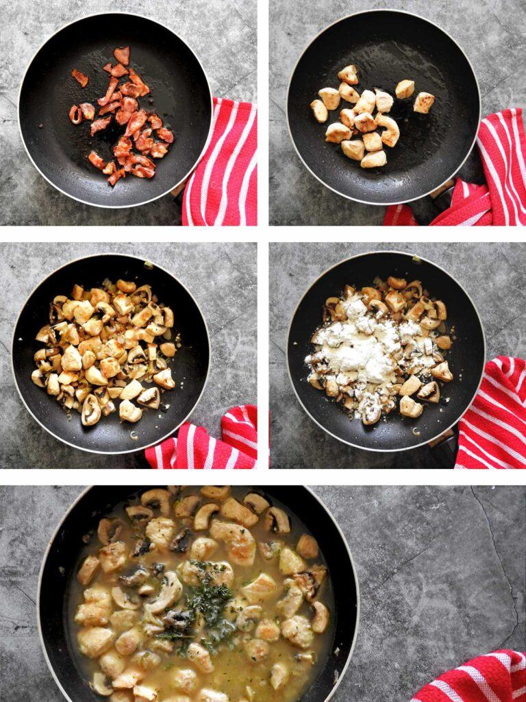 Recipe steps - fry bacon and chicken and add the sauce ingredients