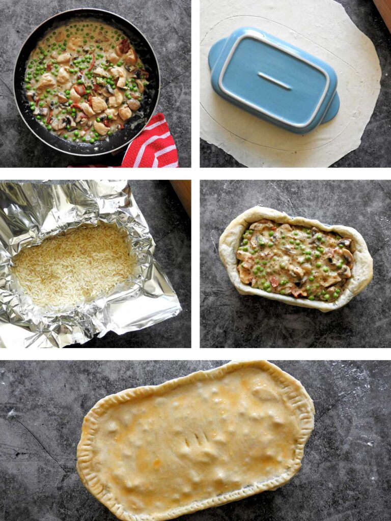 Recipe steps - blind bake the pastry and fill and then bake.