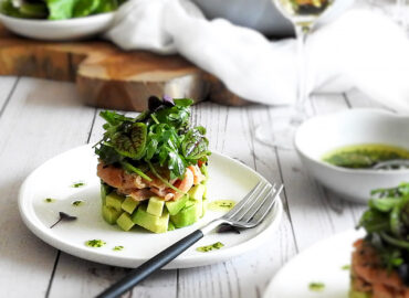 Smoked salmon and avocado starter on a plate
