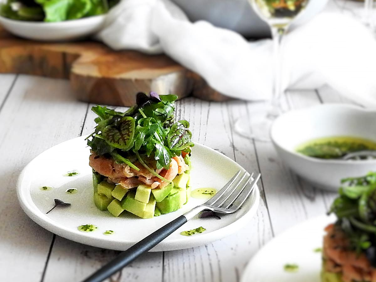Smoked salmon and avocado starter on a plate