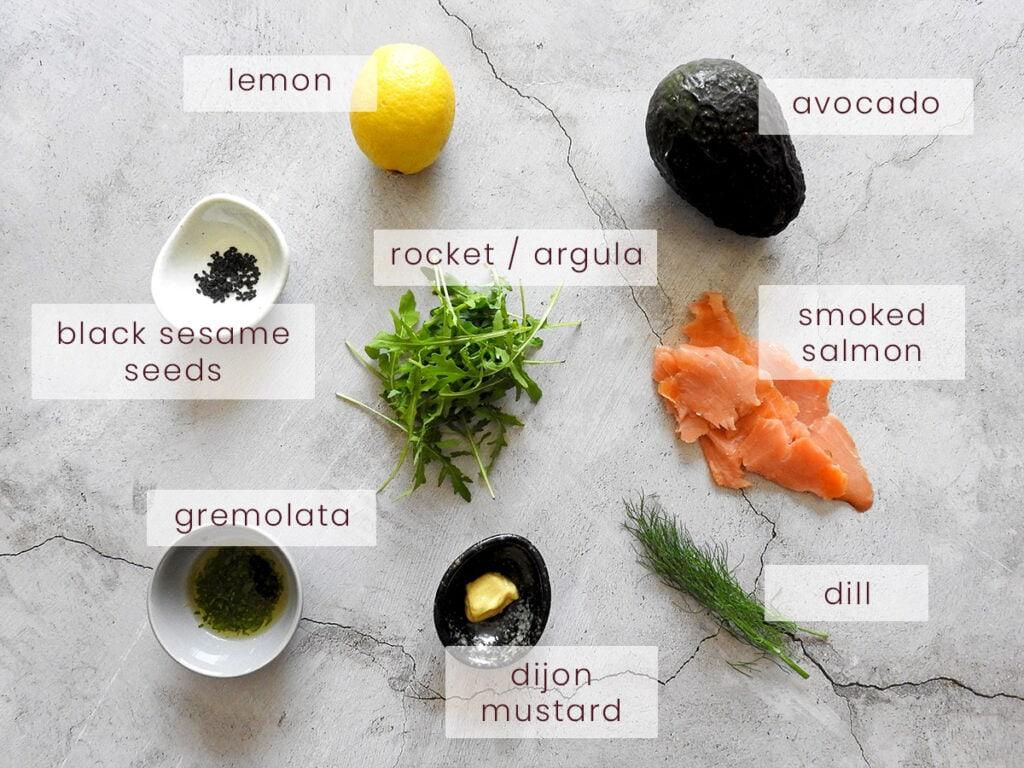 Smoked salmon and avocado starter ingredients