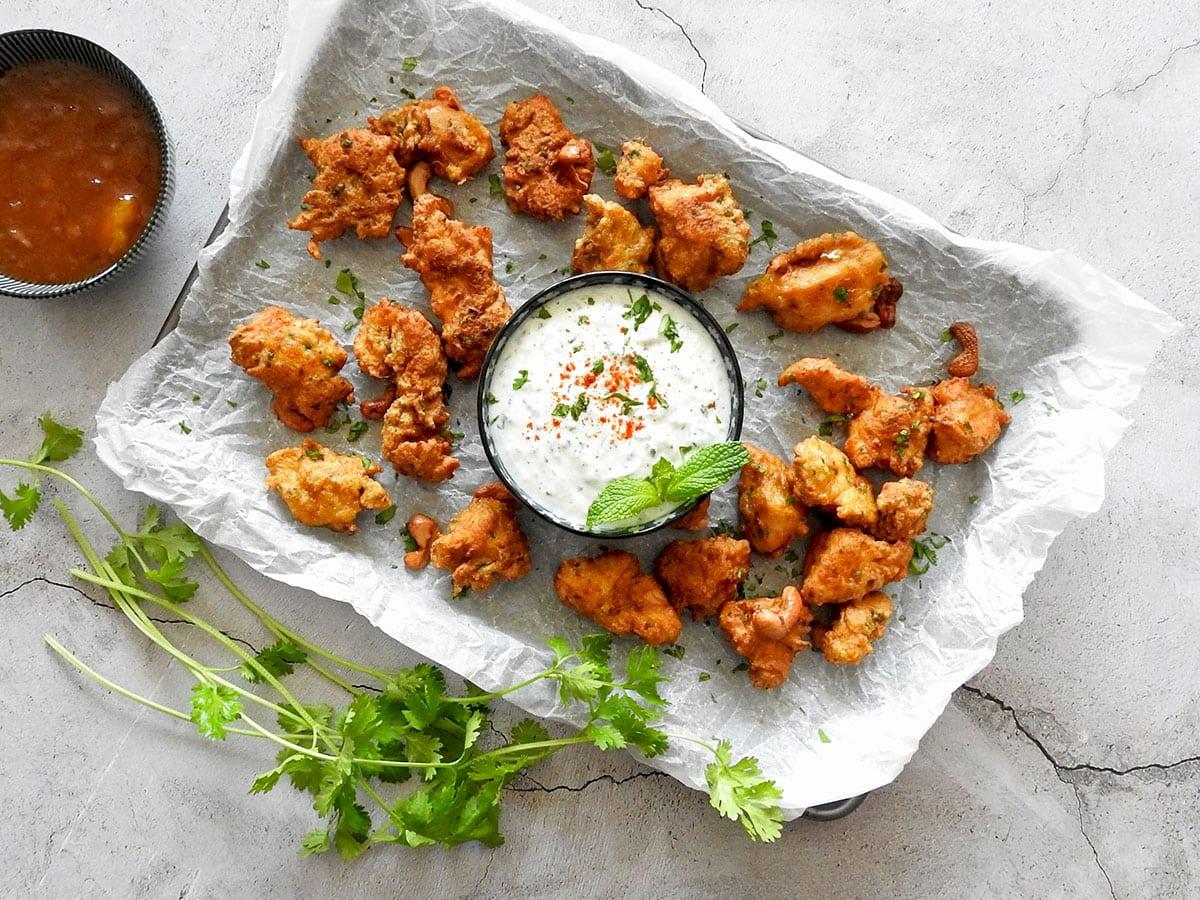 Chicken pakora on a tray