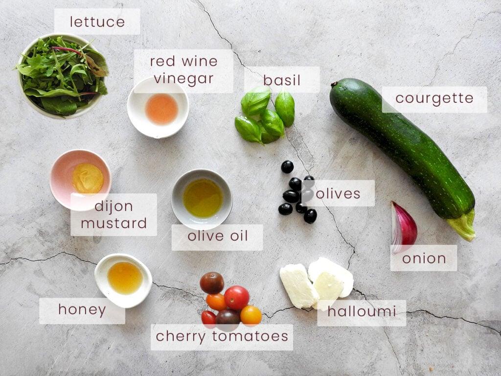 Halloumi Salad Ingredients