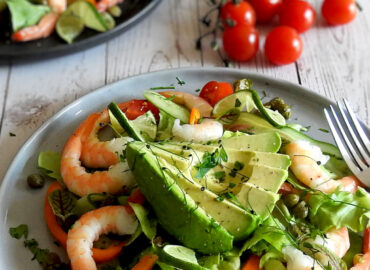 Prawn and Avocado Salad on a plae