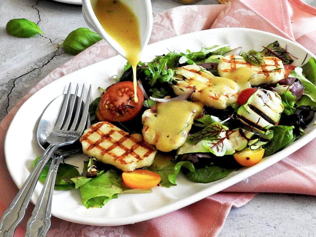 Halloumi Salad on a platter