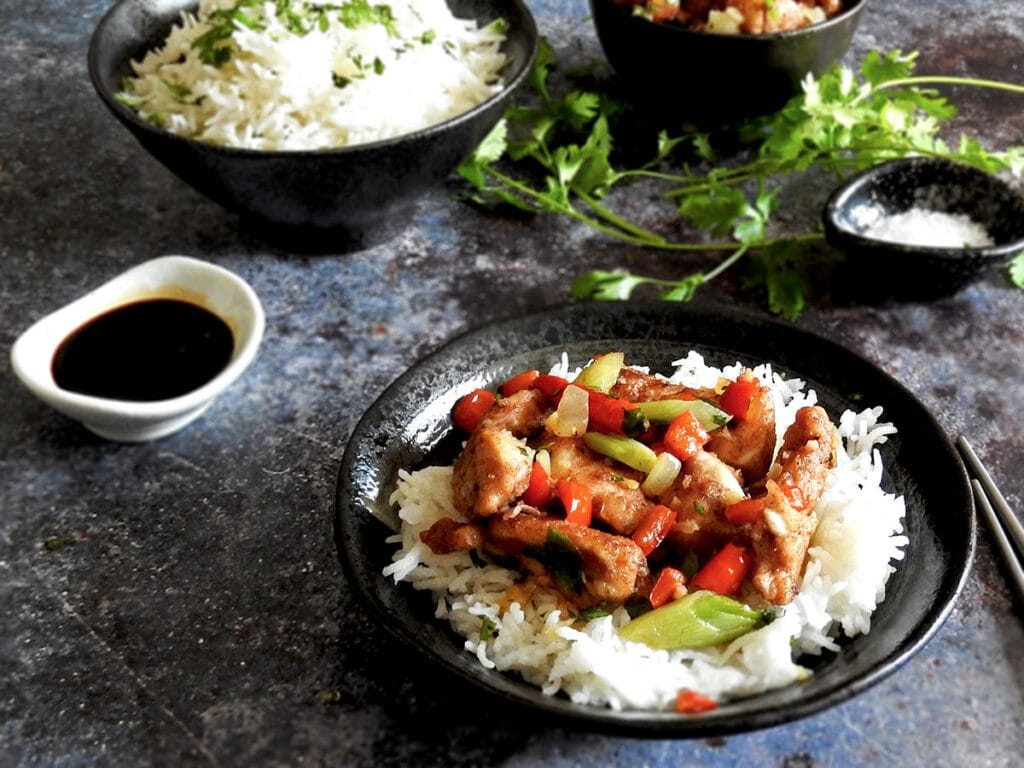 Salt and pepper chicken in a bowl