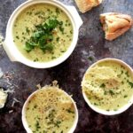Broccoli and cauliflower soup with bread