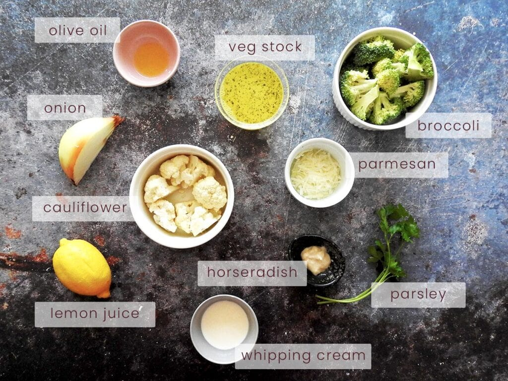 Broccoli and cauliflower soup ingredients