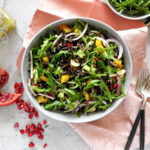 Wild Rice Salad on a bowl with a napkin