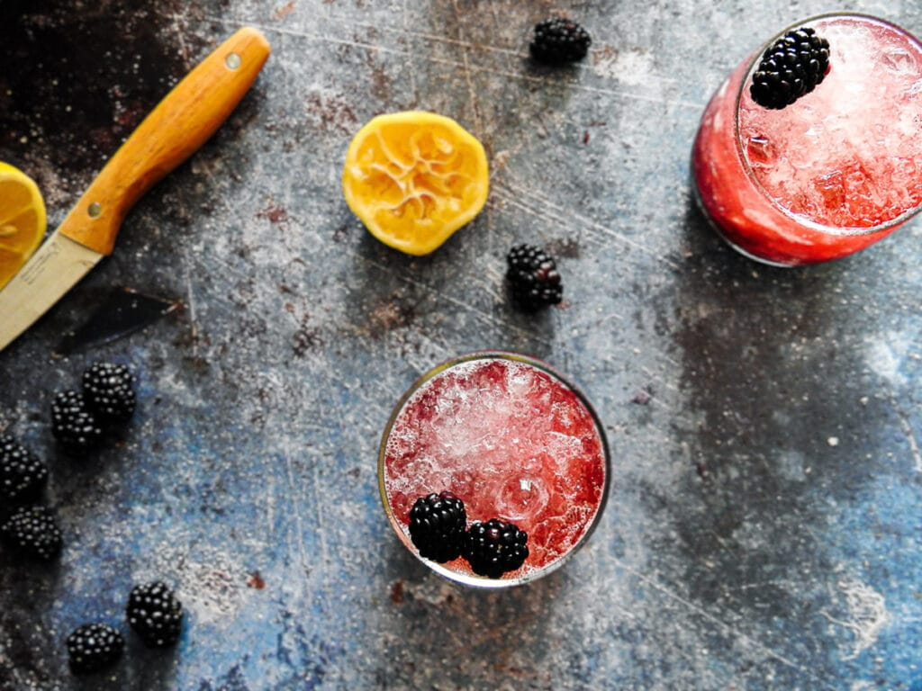 Bramble cocktails from above on a counter