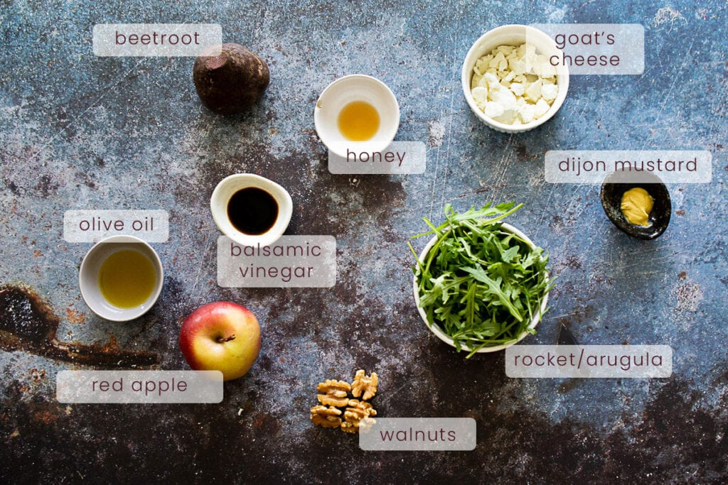 Beetroot and goat's cheese salad ingredients