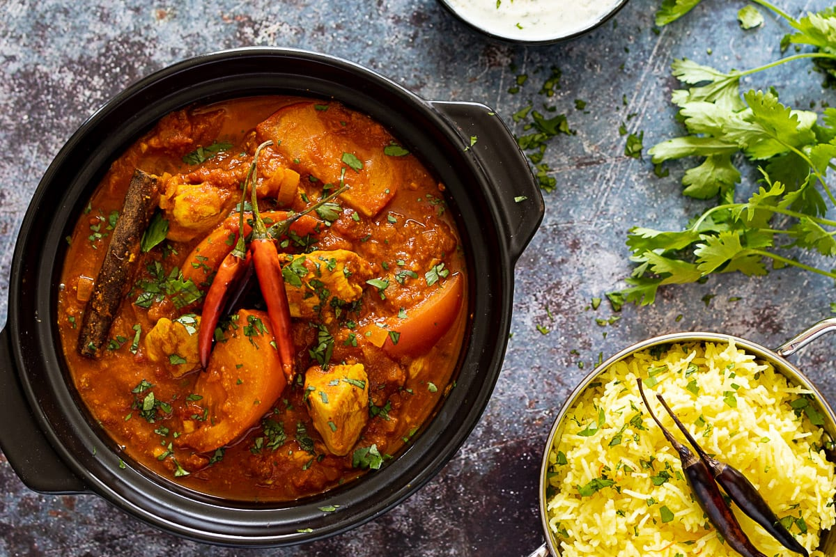 Chicken Rogan Josh in a Large Bowl with Rice