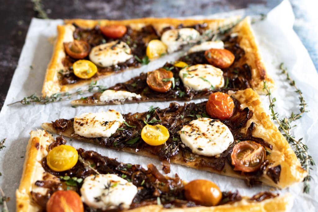 Goat's cheese tart on parchment paper