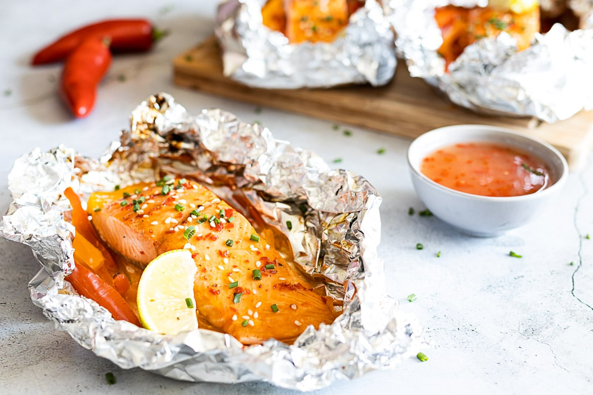 Sweet chilli salmon in a foil packet