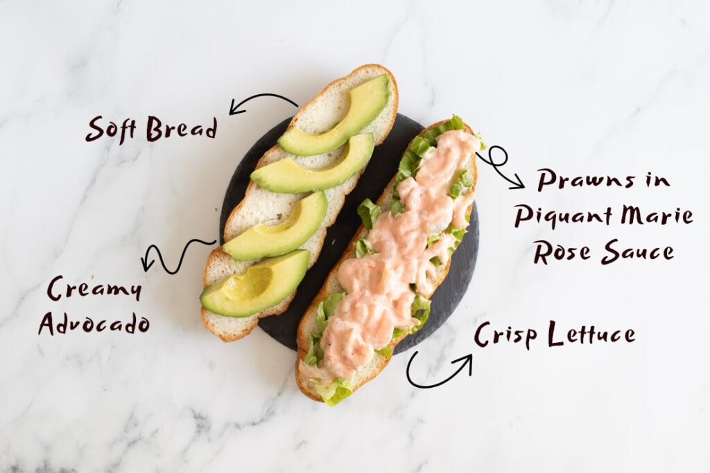 Open prawn sandwich with ingredients listed