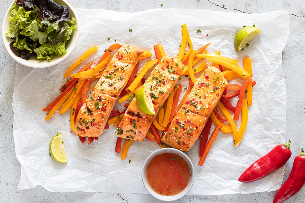 Sweet Chilli Salmon on a bed of sliced peppers