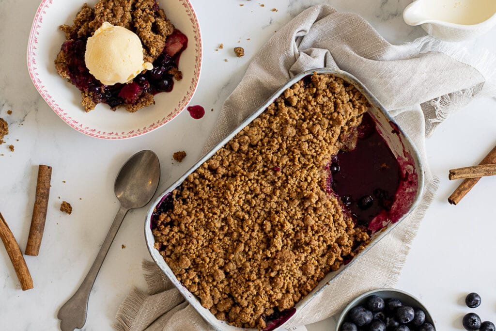 Apple and Blueberry Crumble in a baking dish