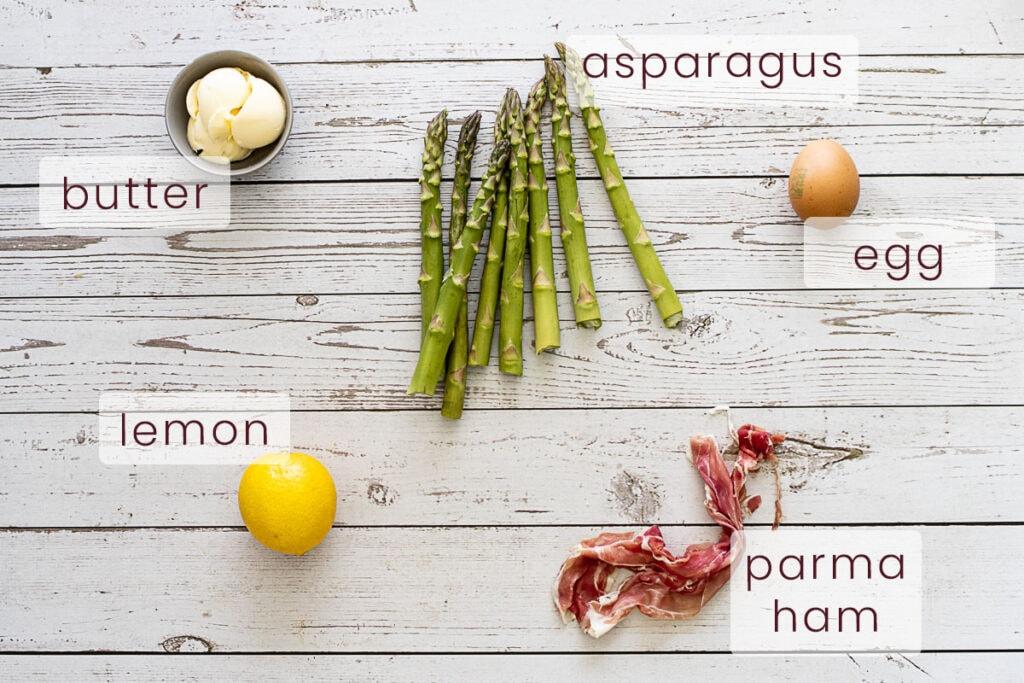 Asparagus and parma ham ingredients