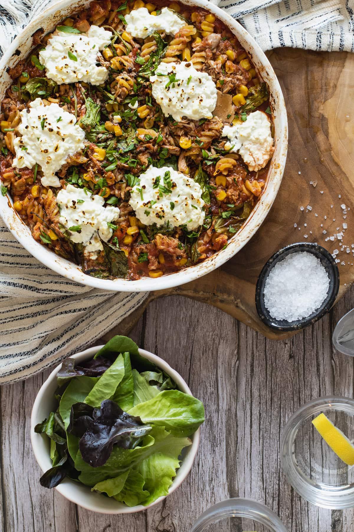 Healthy Tuna Pasta Bake in a Baking Dish