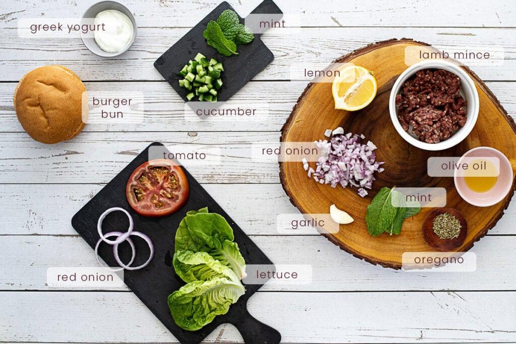 Mint lamb burgers ingredients
